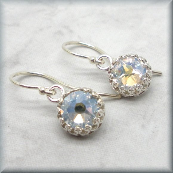 moonlight crystal earrings in sterling silver by Bonny Jewelry