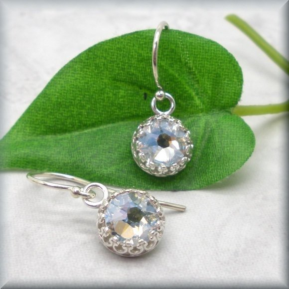 Crystal Moonlight Crystal Earrings - Leverback Style