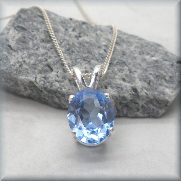 simulated aquamarine oval pendant in sterling silver by Bonny Jewerly