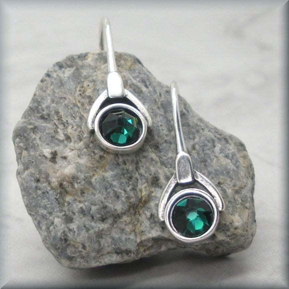 May Crystal Birthstone Earrings - Emerald Green