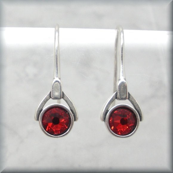 red crystal birthstone earrings by Bonny Jewelry