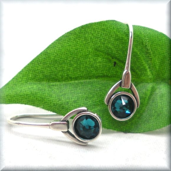 Sterling silver December birthstone earrings by Bonny Jewelry
