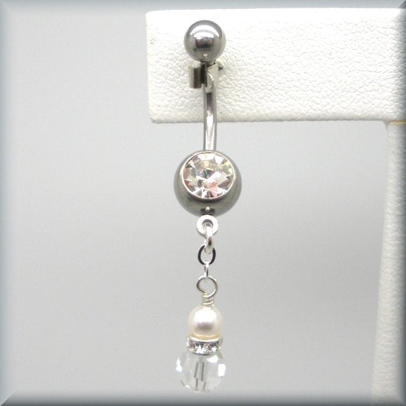 Crystal and Pearl Belly Ring