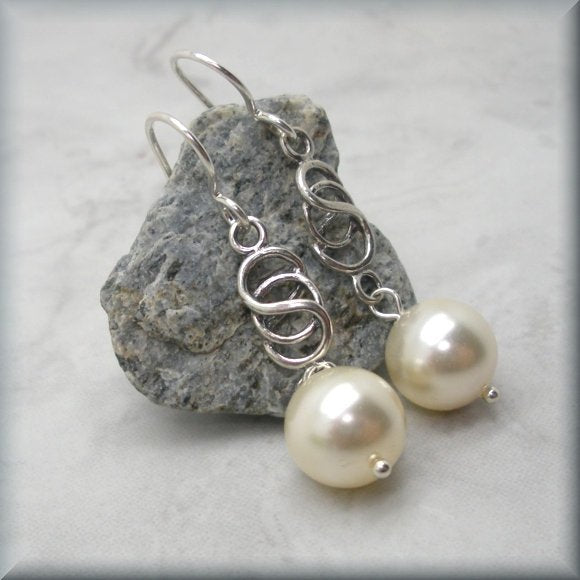 Pearl Drop Earrings with Celtic Designs by Bonny Jewelry
