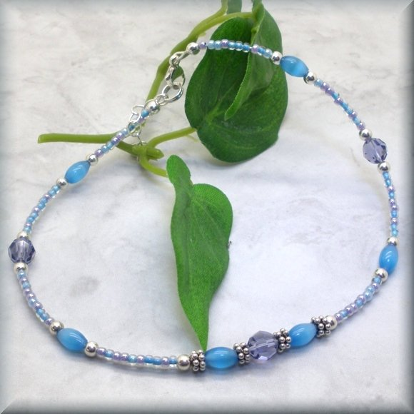 Adjustable anklet with swarovski crystal and cats eye beads by Bonny Jewelry