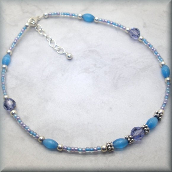 Sterling silver adjustable anklet in purple and blue by Bonny Jewelry