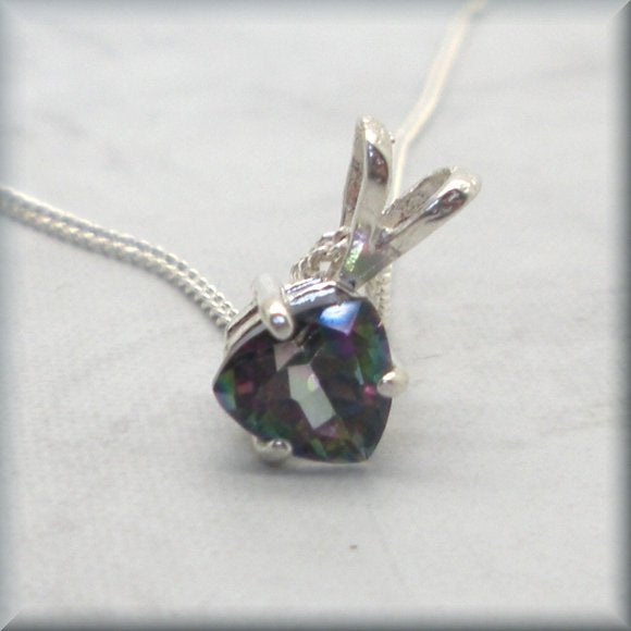 triangle rainbow topaz sterling silver necklace by Bonny Jewelry