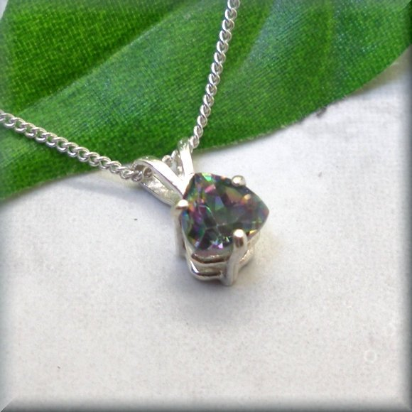mystic topaz trillion pendant by Bonny Jewelry