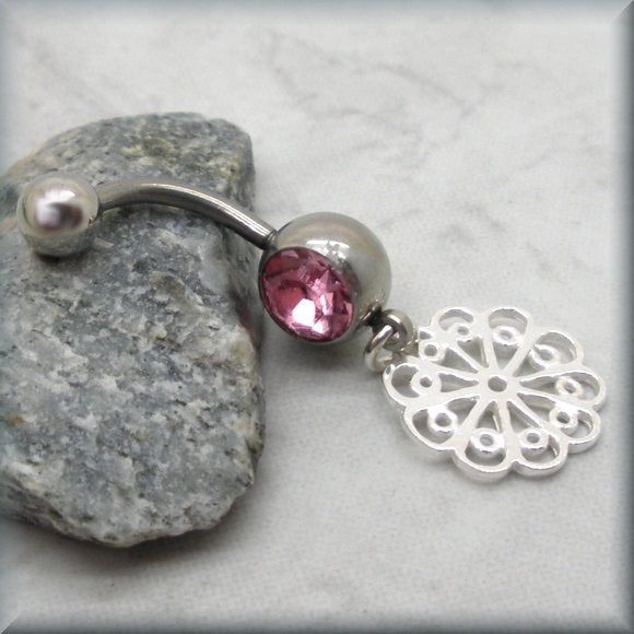 Pink Crystal Flower Filigree Belly Ring
