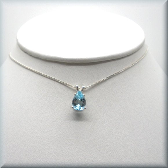 sky blue topaz necklace in sterling silver by Bonny Jewelry