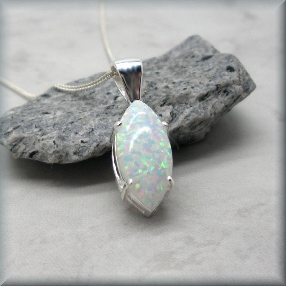 white opal marquise necklace by Bonny Jewelry