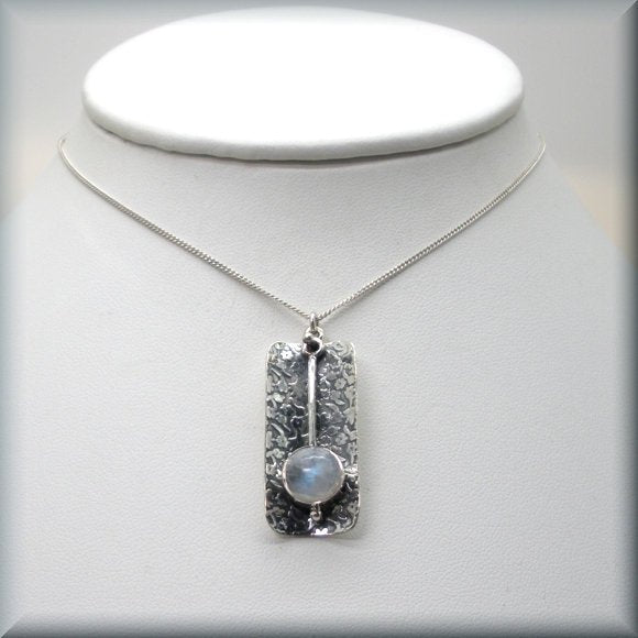sterling silver rainbow moonstone necklace by Bonny Jewelry