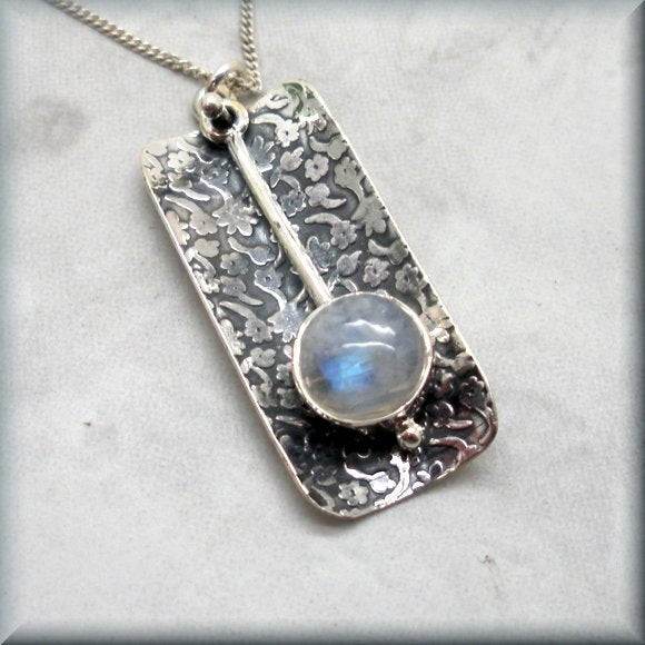 sterling silver rainbow moonstone pendant by Bonny Jewelry