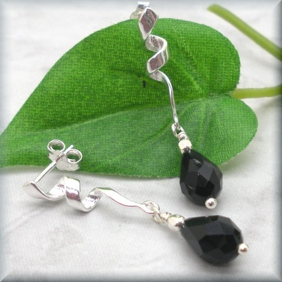 Black Crystal Ribbon Twirl Post Earrings