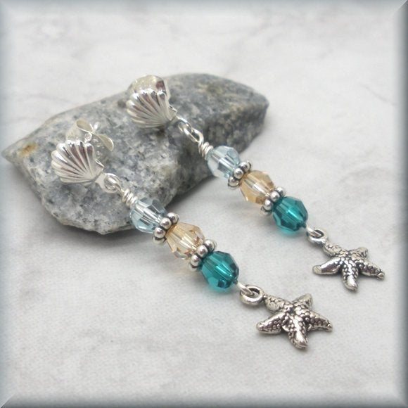 Beach Starfish Crystal Earrings - Sterling Silver