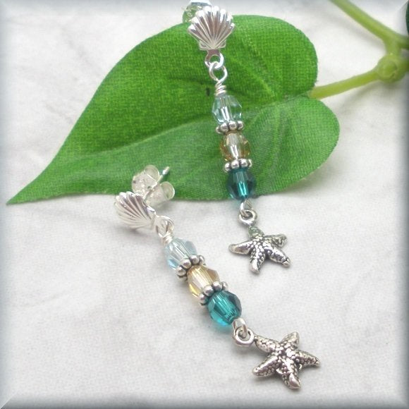 beach theme earrings with seashell and starfish by Bonny Jewelry
