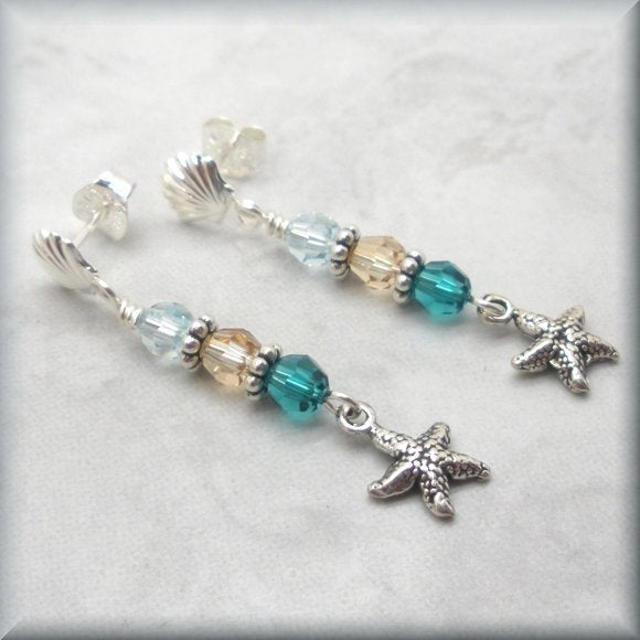 starfish earrings with seashell posts by Bonny Jewelry