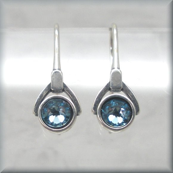 aquamarine crystal earrings in sterling silver by Bonny Jewelry