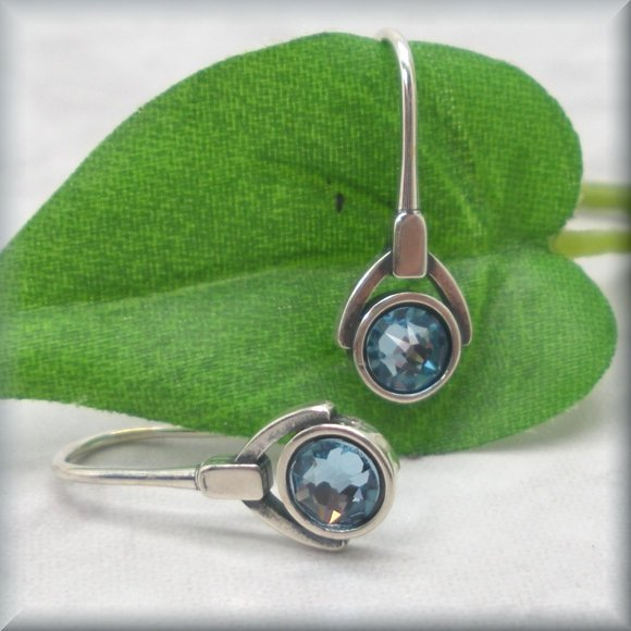 Light blue crystal earrings in sterling silver by Bonny Jewelry