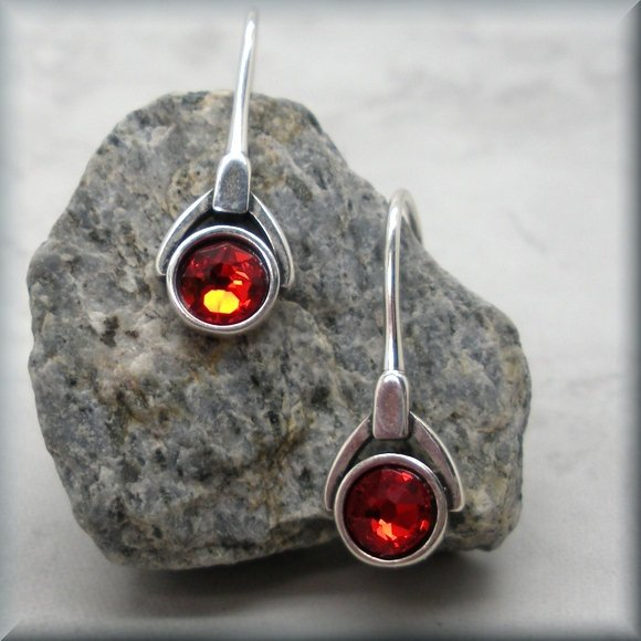 July ruby red birthstone crystal earrings by Bonny Jewelry