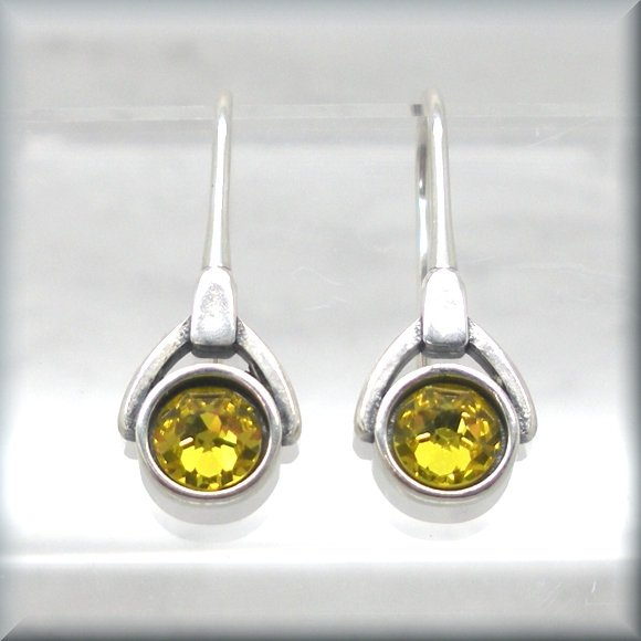 November Crystal Birthstone Earrings - Topaz