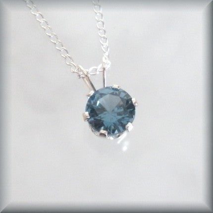 December Birthstone Necklace - Blue Zircon Solitaire Pendant - Bonny Jewelry