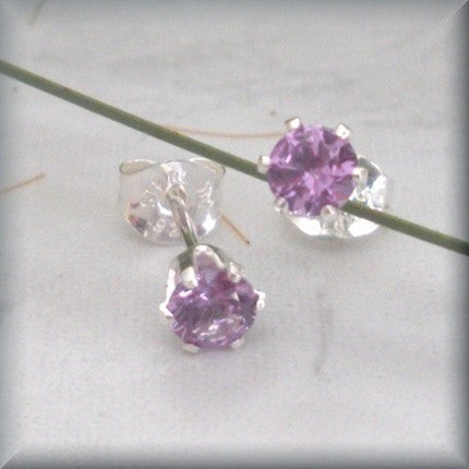 Alexandrite Post Earrings - June Birthstone - Sterling Silver - Bonny Jewelry
