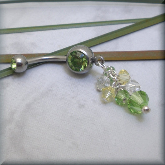 Peridot Green and Yellow Swarovski Crystal Belly Ring - Bonny Jewelry