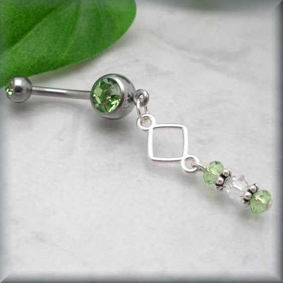 Geometric Belly Ring - Peridot Crystal Accent - Bonny Jewelry
