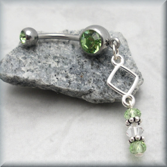 Geometric Belly Ring - Peridot Crystal Accent
