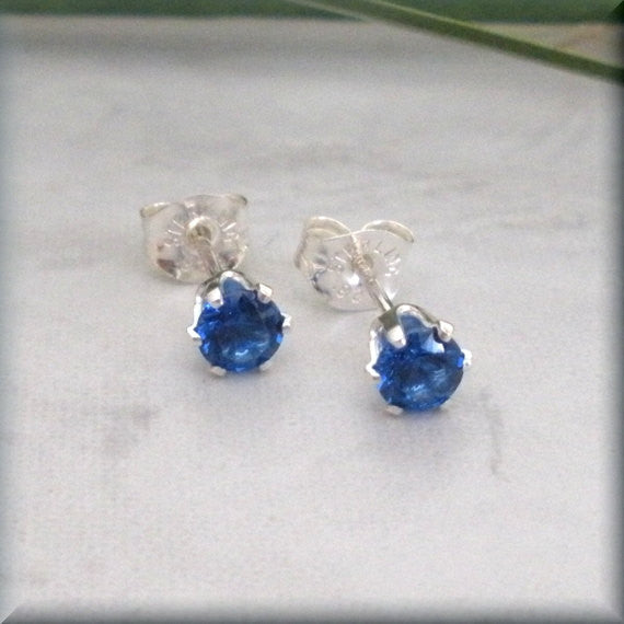 Sapphire Post Earrings - September Birthstone - Bonny Jewelry