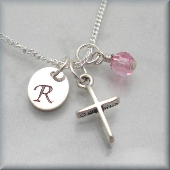 Cross Birthstone Necklace - Personalized - Handstamped - Bonny Jewelry