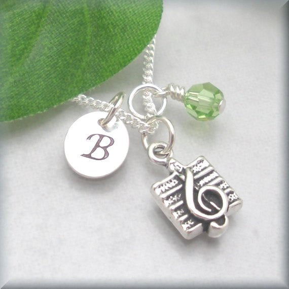 Music Note Necklace - Personalized Birthstone Jewelry - Bonny Jewelry