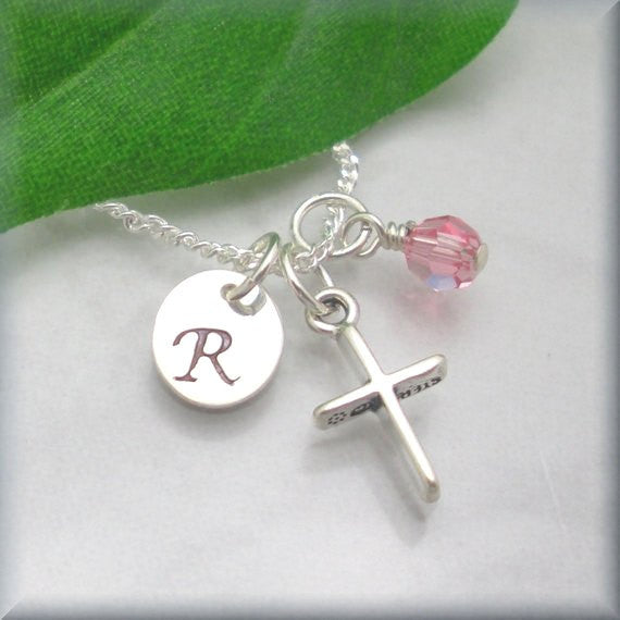 Cross Birthstone Necklace - Personalized - Handstamped