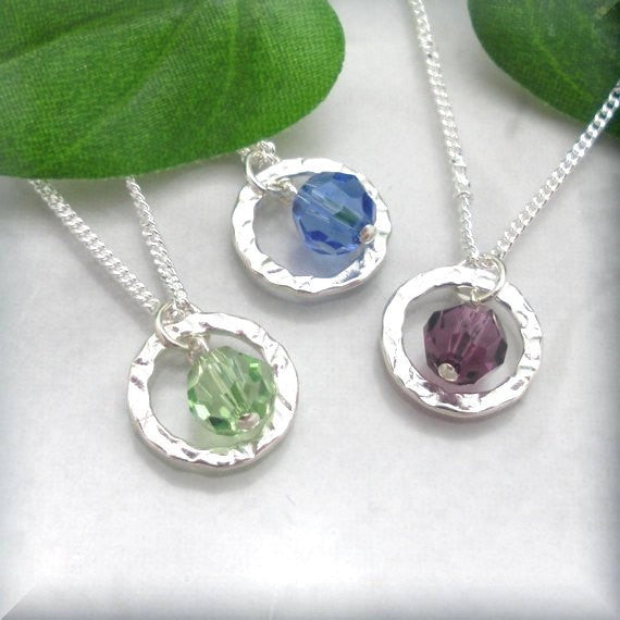 Eternity Circle Birthstone Necklace - Swarovski Crystal Jewelry