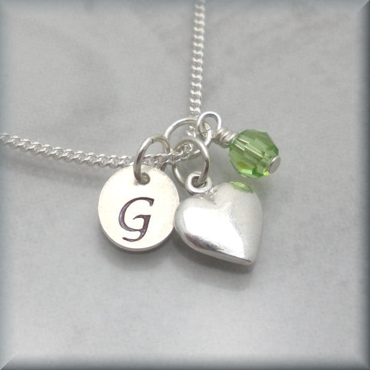 Puffed Heart Initial Birthstone Necklace - Personalized - Handstamped - Bonny Jewelry