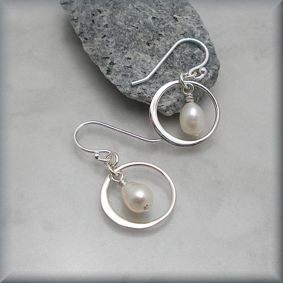 Freshwater White Pearl Encircled Earrings - Bonny Jewelry