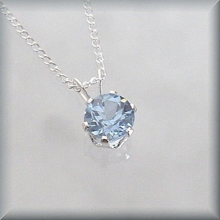 March Birthstone Necklace - Aquamarine Jewelry - Bonny Jewelry