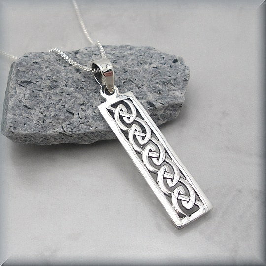 Celtic Bar Knot Necklace - Irish Jewelry