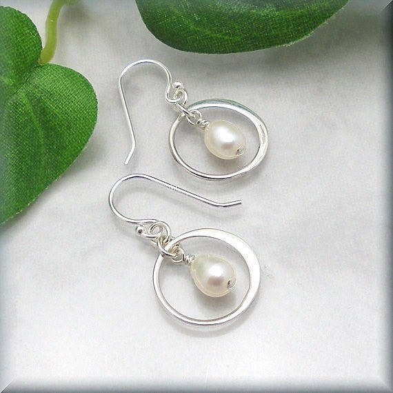 Freshwater White Pearl Encircled Earrings