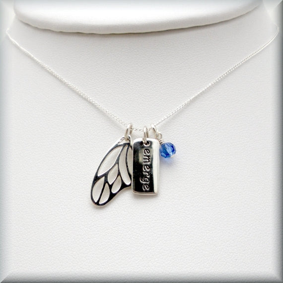 Emerge Butterfly Wing Necklace - Birthstone Jewelry - Bonny Jewelry
