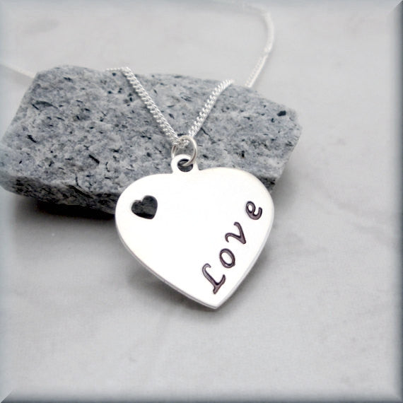 Heart Love Necklace - Handstamped - Bonny Jewelry