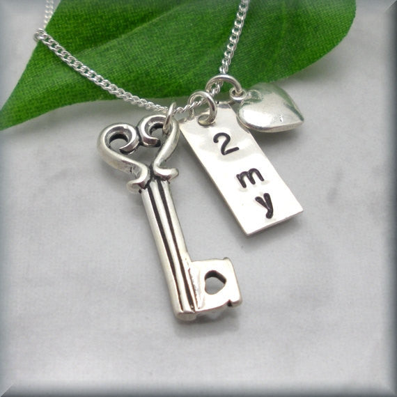 Key to My Heart Necklace - Handstamped - Bonny Jewelry