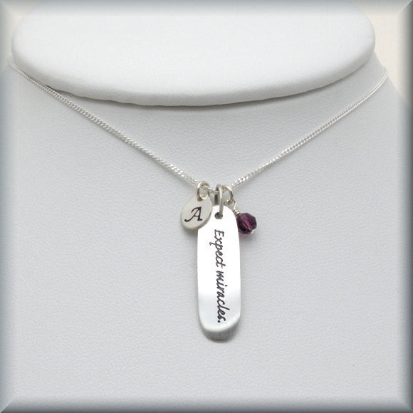 Expect Miracles Inspirational Necklace - Personalized Birthstone Jewelry - Bonny Jewelry