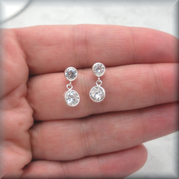 Double Cubic Zirconia Post Earrings - Bonny Jewelry
