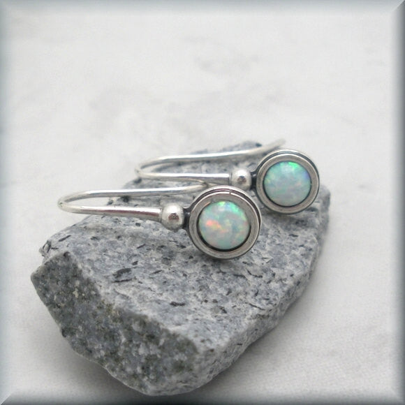 Small White Opal Earrings - October Birthstone - Bonny Jewelry