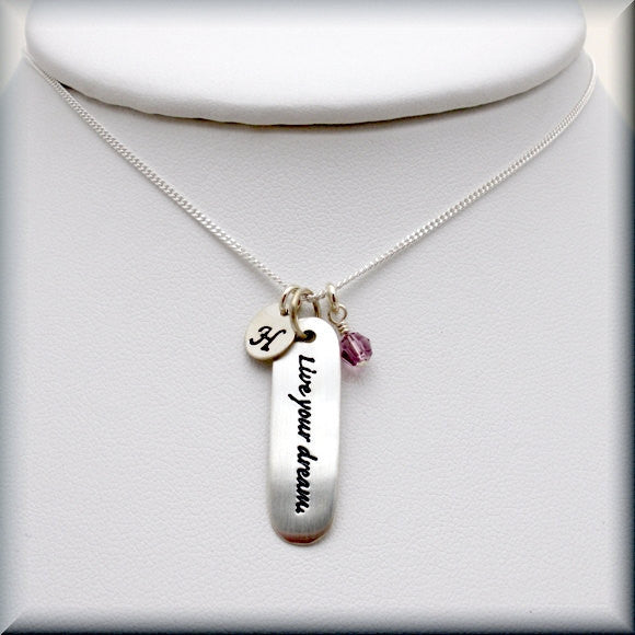 Live Your Dream Birthstone Necklace - Personalized - Bonny Jewelry