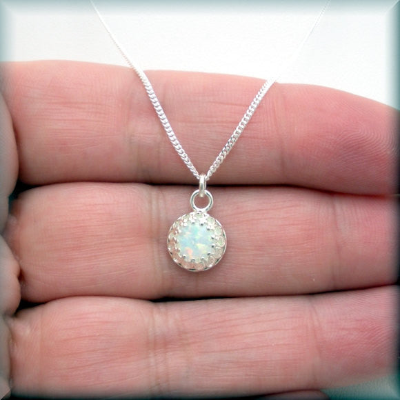 White Opal Necklace - October Birthstone - Bonny Jewelry