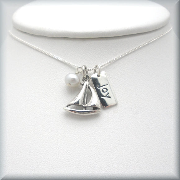 Sailboat Necklace - Joy - Inspirational Jewelry - Nautical - Bonny Jewelry