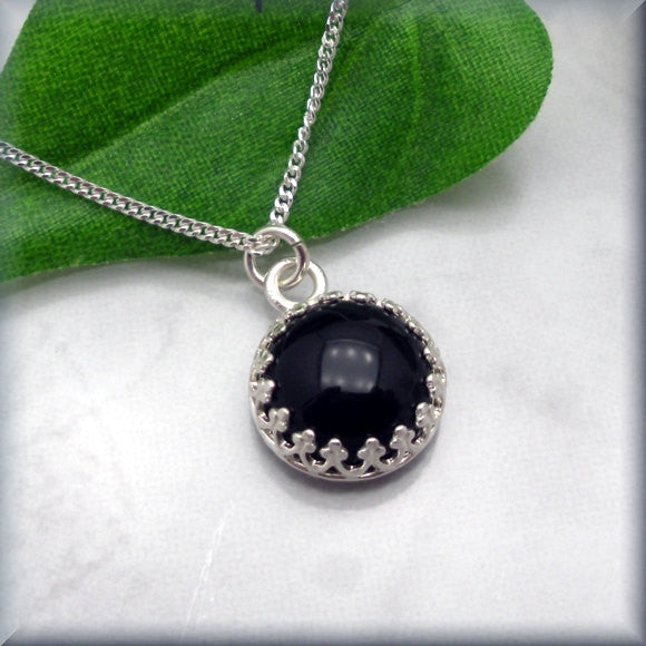 Black Onyx Cabochon Necklace - Gemstone - Bonny Jewelry